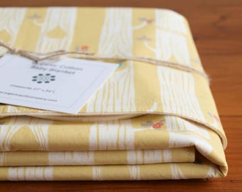Yellow Baby Blanket, Modern Woodland Receiving Blanket, Organic Cotton Stroller Blanket, Trendy Baby Gift for Girls, Tree Stripes Yellow