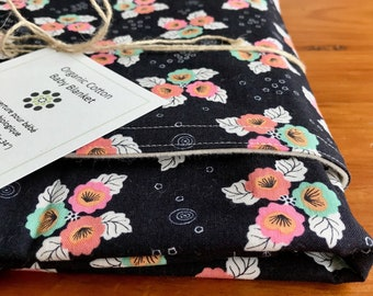 Black, Pink, Aqua and White Floral Baby Blanket; Pretty Organic Cotton, Personalized, Embroidered Receiving Blanket for Girl; Monsoon Bloom