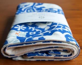 Blue Burp Cloths with Lions, Tigers & Elephants; Handmade Organic Cotton Burp Pads Gift for New Baby or Nursing Mom; Hidden Flower Field