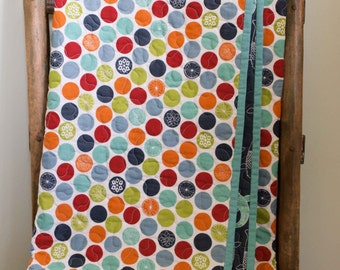 Organic Baby Quilt: MADE TO ORDER, Eiko Dots and Playing Koi Organic and Reversible Whole-Cloth Quilt by Organic Quilt Company