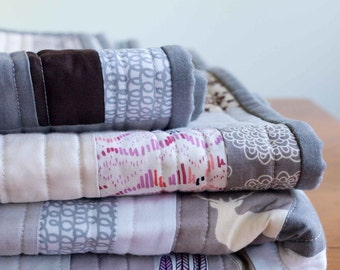 Modern Organic Cotton Patchwork Quilt; Custom, Made to Order, Crib, Toddler, Throw, Twin, Contemporary Quilt, Silver, Gray, Taupe, Purple