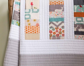 Woodland Toddler Quilt in Orange, White and Grey; Custom Organic Cotton Baby Quilt; Modern Patchwork Crib Quilt, Handmade Gift for New Baby