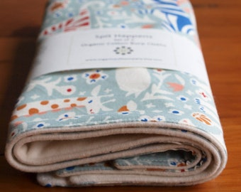 Pale Blue Burp Cloths with Lions, Tigers & Giraffes; Handmade Organic Cotton Burp Pads Gift for New Baby Boy, Girl or Nursing Mom; Menagerie