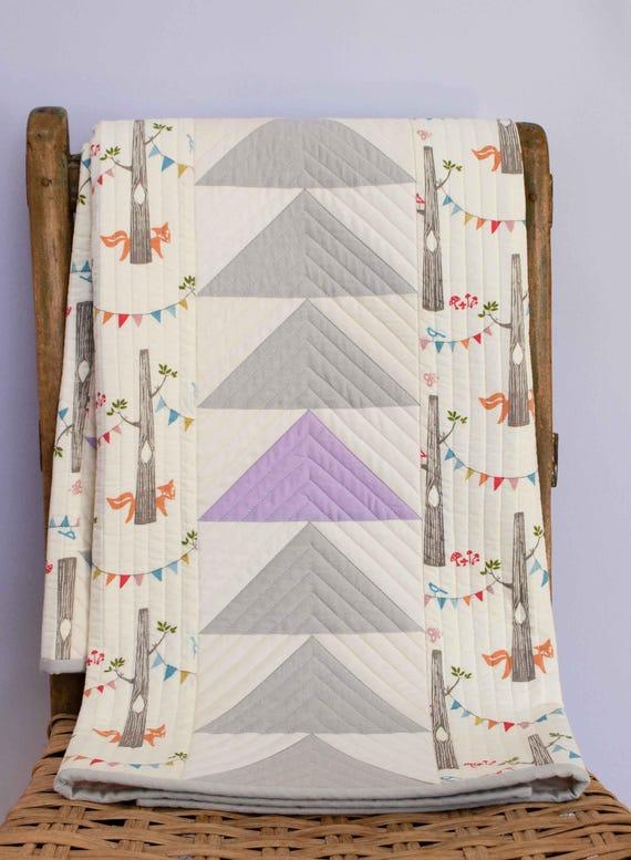 PATCHWORK STACKS Woodland Toddler Quilt; Custom Organic Baby Quilt; Modern Patchwork Crib Quilt; Gray Nursery Decor; Handmade New Baby Gift