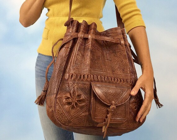 Vintage 70s BIG Chocolate Brown Embossed Moroccan Leather Drawstring Shoulder Bag