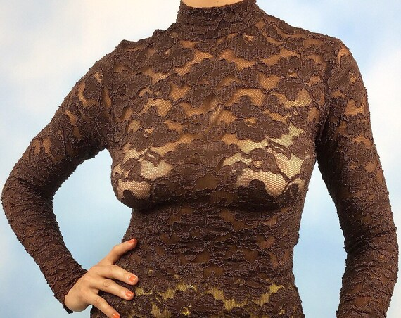 Vintage 90s Chocolate Brown Long Sleeved Lace Blouse (size small, medium)
