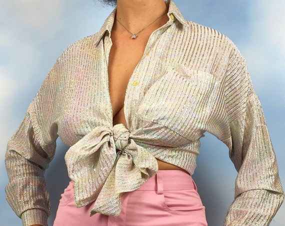 Vintage 70s Iridescent Silver Rainbow Unicorn Button Down Blouse