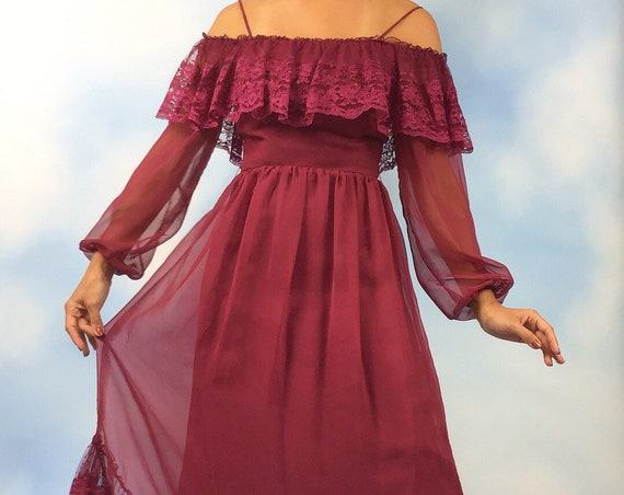 Vintage 60s 70s Cranberry Chiffon Lace Trimmed Off the Shoulder Maxi Dress (size xs, small)