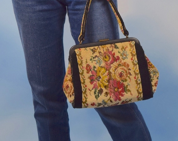 Vintage 50s 60s Floral Needlepoint Top Handle Tapestry Purse