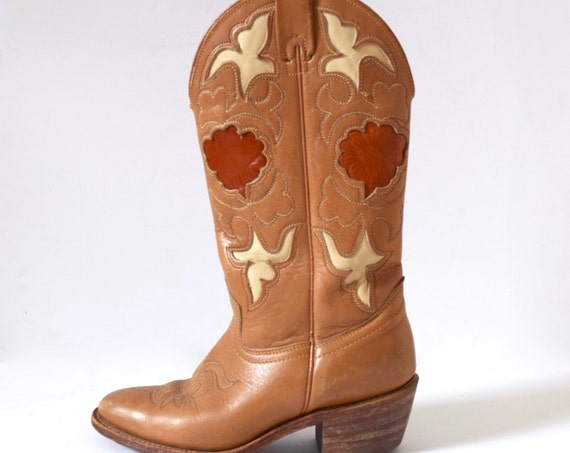 Vintage 60s 70s TEXAS Caramel Brown Cut Out Cowboy Boots (size 5.5M)