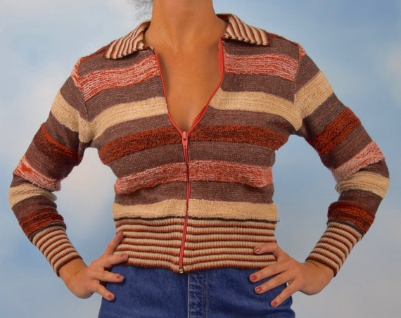 Vintage 70s Autumnal Striped Zip Up Sweater (size small, medium)