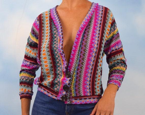 Vintage 70s Rainbow Chevron Knit Cardigan (size small, medium)