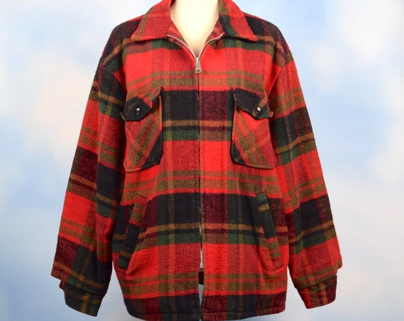 Vintage 60s Red Plaid Flannel Fleece Lined Jacket (size large)
