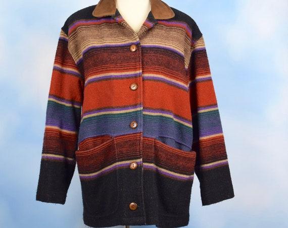 Vintage 70s Woolrich Southwestern Striped Blanket Coat