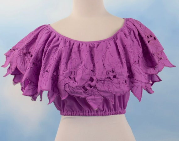 Vintage 70s 80s Orchid Purple Leaf Embroidered Crop Top