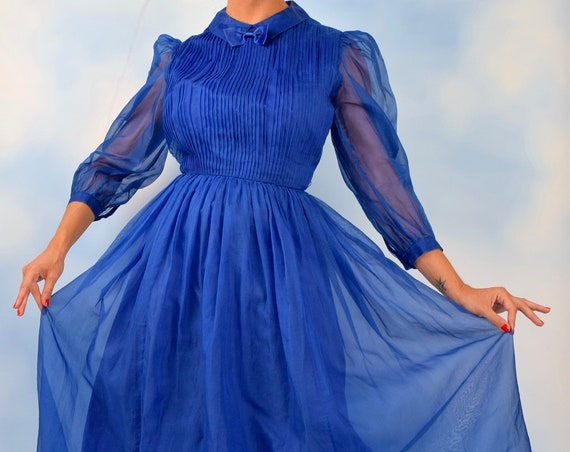 Vintage 80s does 50s Royal Blue Silk Organza Tuxedo Pleated Bodice New Look Party Dress (size small)