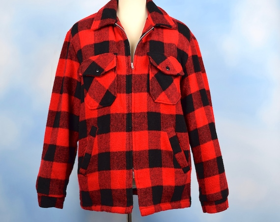 Vintage 50s 60s Red and Black Buffalo Plaid Wool Faux Shearling Lined Jacket (size medium, large)