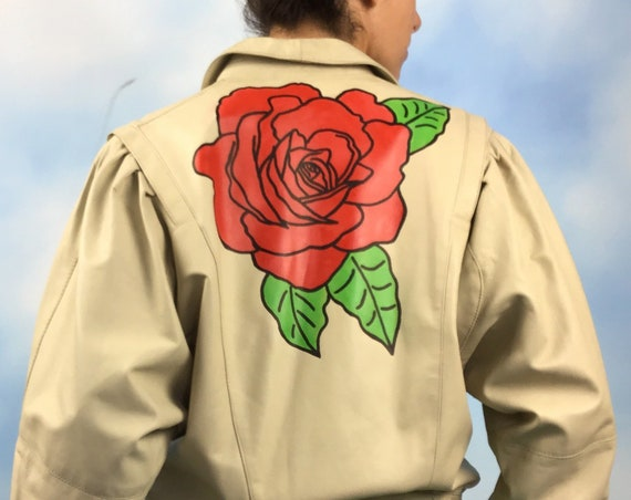Vintage 80s 90s Supple Cream Leather Jacket with Hand Painted Red Rose