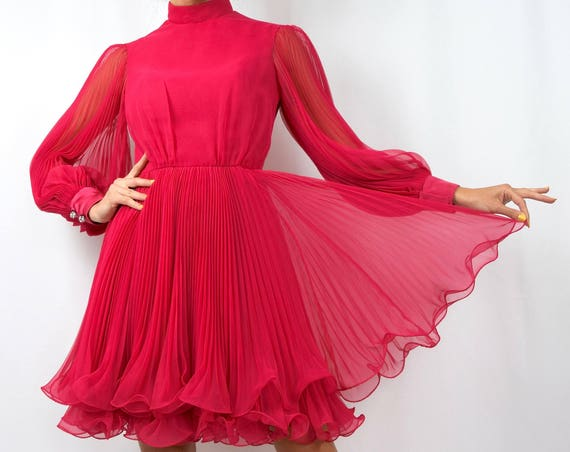 Vintage 60s Hottest Pink Chiffon Party Dress with Balloon Sleeves and Double Layered Accordion Pleated Skirt (size small, medium)