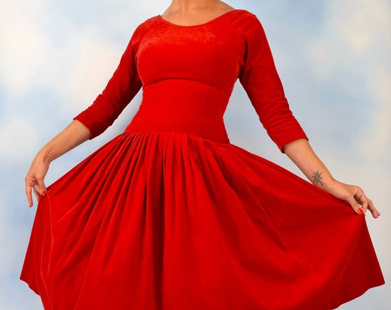 Vintage 50s 60s Red Velvet Dropped Waist Pleated Dress (size xs, small)