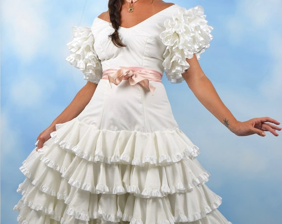 Vintage 70s Crisp White Cotton Tiered Ruffled Spanish Flamenco Wedding Dress (size small)