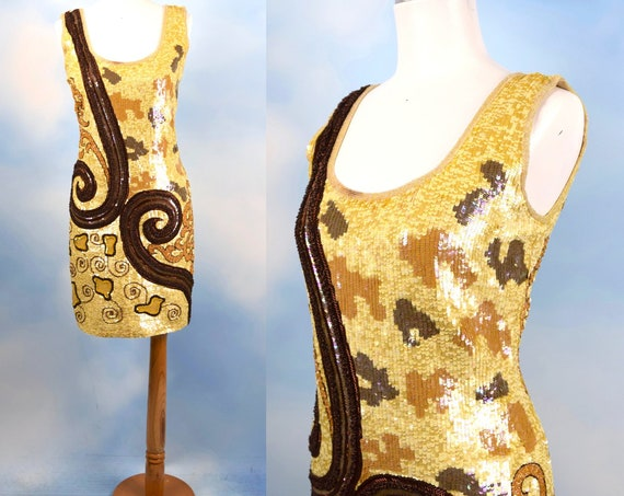 Vintage 80s 90s Escada Gold and Amber Sequined Honeycomb Shift Dress (size small, medium)