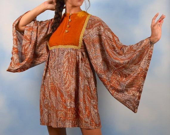 Vintage 70s Orange and Metallic Gold Angel Wing Sleeve Paisley Print Mini Dress