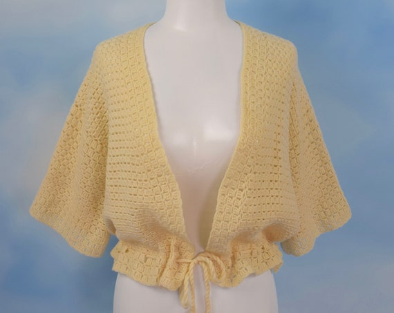 Vintage 70s Vanilla Crocheted Box Sleeve Tie Front Sweater