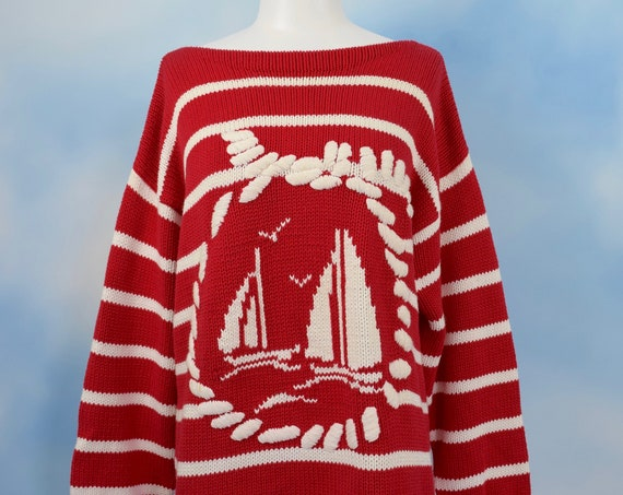 Vintage 90s Red and White Striped Knit Sailboat Sweater (size large, xl)