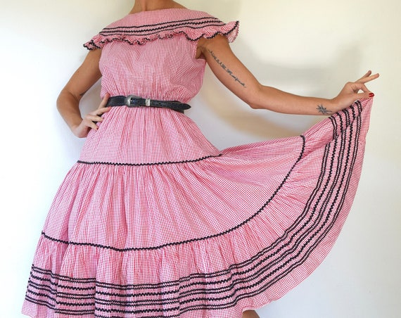 Vintage 50s Red and White Gingham Square Dancing Dress with Black Rick Rack Trim (size small, medium)