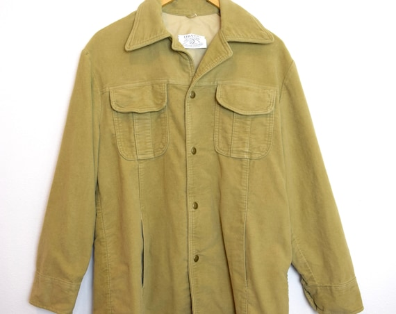 Vintage 60s 70s Orvis Tan Velour Snap Button Fisherman Shirt (size large)