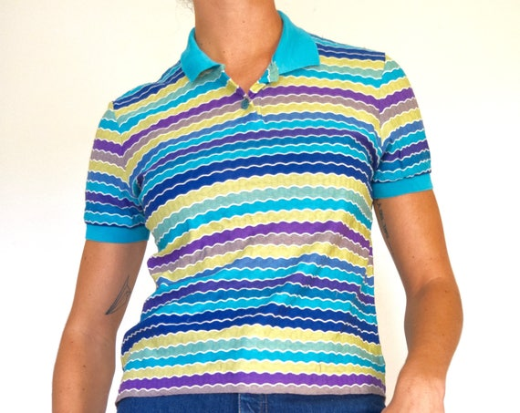 Vintage 90s MISSONI Sport Scalloped Striped Knit Polo Shirt (size medium, large)