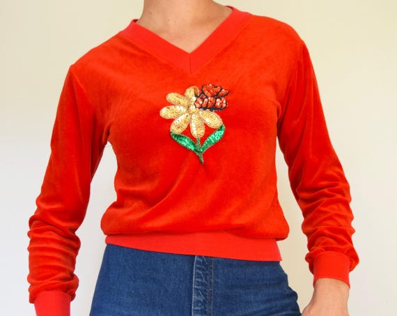 Vintage 70s Red Velour V-Neck Sweater with Sequined Flower and Bumble Bee Applique (size small, medium)