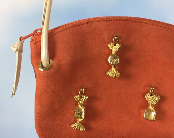Vintage 90s Kitamura Muted Orange Suede Handbag with Gold Tone Metal Candy Charms