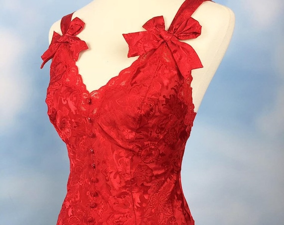 Vintage 80s 90s Victorias Secret Gold Label Red Satin Teddy (size small)