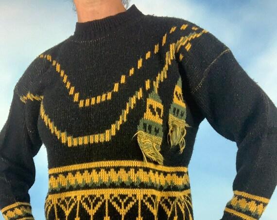 Vintage 80s 90s Boxy Trompe L'Oeil Knit Tassel Sweater