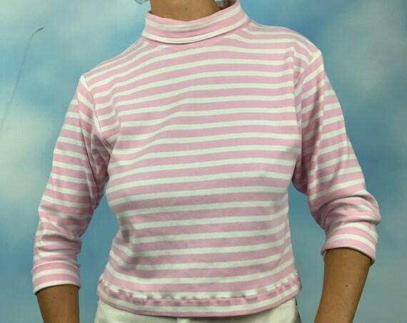 Vintage 90s ESPIRIT Bubblegum Pink and White Striped Turtleneck Crop Top