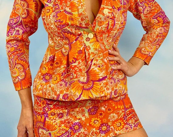 Vintage 60s Psychedelic Orange Floral Jacket and Matching High Waisted Mini Skirt 2 Piece Set (size xs, small)