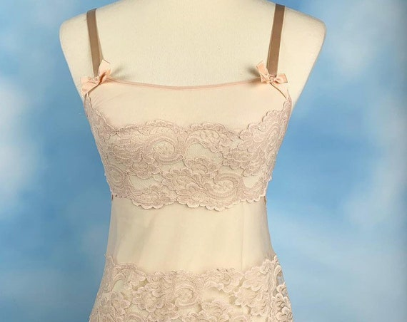 Vintage 60s Ballet Slipper Pink Mesh and Lace Slip Dress and Matching Garter Belt (size small)