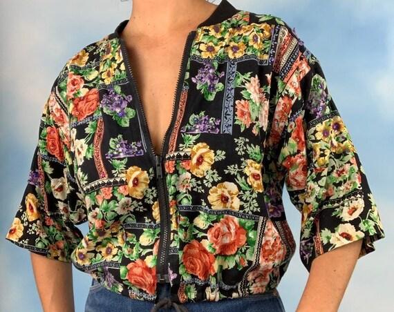 Vintage 90s Sequined Floral 3/4 Sleeved Drawstring Waist Zip Up Jacket