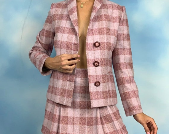 Vintage 60s Pink Plaid Jacket and High Waisted Pleated Mini Skirt 2 Piece Set (size small)