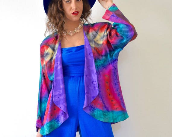 Vintage 80s 90s Marbled Rainbow and Purple Silk Reversible Open Front Jacket