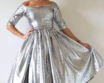 Vintage 60s 70s Metallic Silver New Look Party Dress (size xs, small)