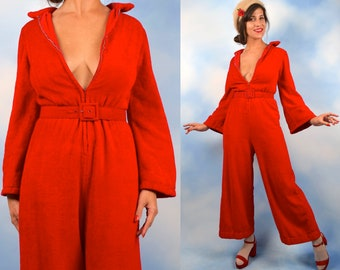 2c81acc1e78 Vintage 60s 70s Tomato Red Plush Terrycloth Bell Sleeve Palazzo Pant Zip Up  Jumpsuit (size medium)