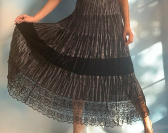 Long black popcorn crinkle skirt with slit
