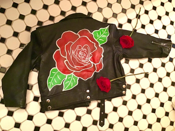 Vintage 80s 90s Black Leather Hand Painted Rose Kids Size 10 Motorcycle Jacket