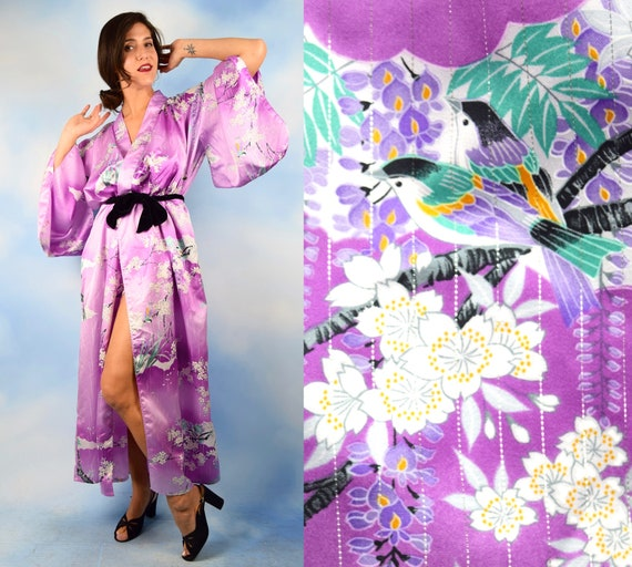 Vintage 70s 80s Birds and Branches Violet Kimono Robe