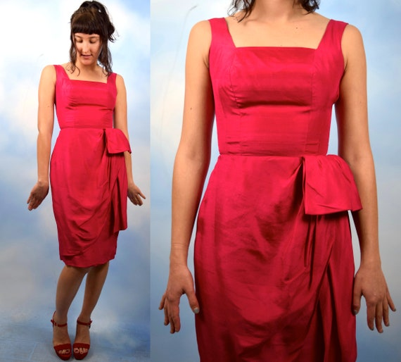 Vintage 60s Raspberry Red Silk Sarong Wiggle Dress (size xxs, xs)