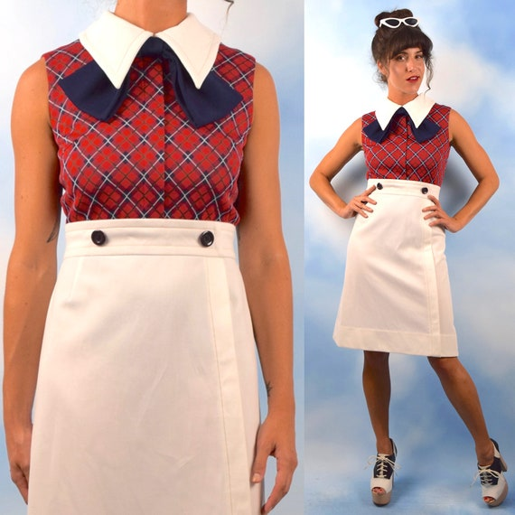 Vintage 70s does 50s Library Hours Plaid Ascot Collar Wiggle Dress (size small, medium)