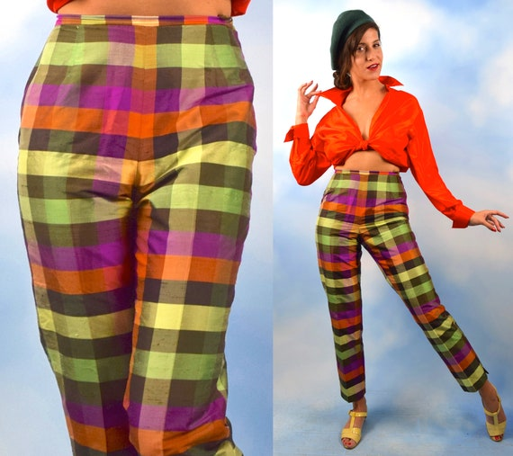 Vintage 90s does 50s Isaac Mizrahi Plaid Silk High Waisted Straight Legged Trousers (size 6)